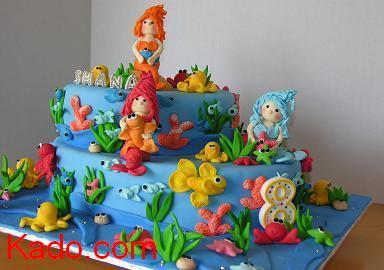 Under the Sea with Three Mermaids Birthday Cake Kadocom