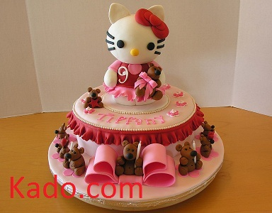 Nine Charming Teddy Bears with a Hello Kitty Birthday Cake Kadocom